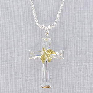 Silvertone Cross Pendant Necklace - Dove of Peace