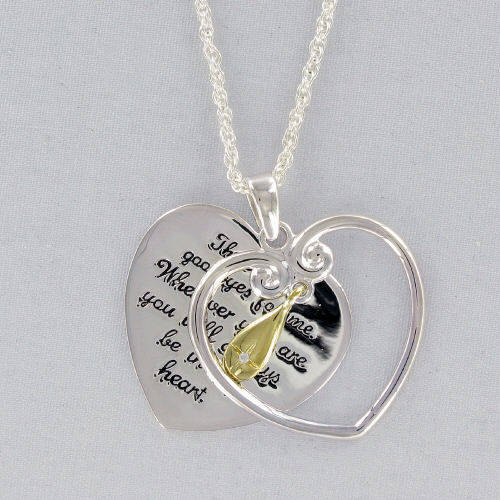 Inspirational Teardrop Heart Pendant with Cubic Zirconia Accent | Memorial Gifts