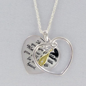 Inspirational Teardrop Heart Pendant with Cubic Zirconia Accent