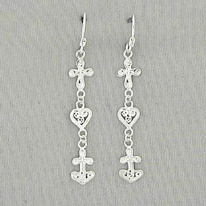Sterling Silver Faith, Hope and Love Dangle Earrings