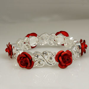 Silvertone Red Rose and Crystal Bracelet