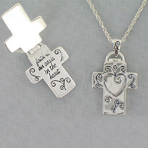 Silver Cross Necklace with Inscription