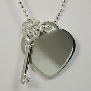 Engraved Key To My Heart Silvertone Pendant Necklace