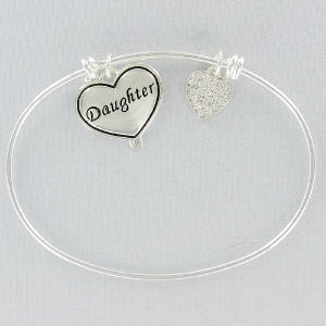 Silvertone Daughter Bangle Bracelet