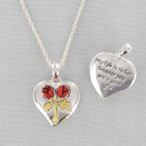 Silvertone Heart Necklace -