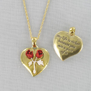 Two Tone Gold Heart Necklace