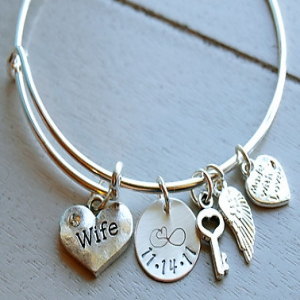Personalized Wife Bangle Bracelet