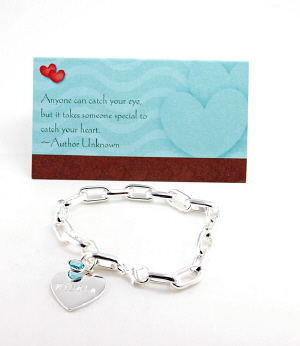 Personalized Heart and Birthstone Bracelet with Card