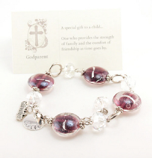 Engraved Godmother Beaded Bracelet