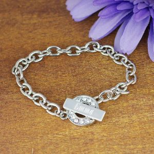 Engraved Rhinestone Toggle Bracelet | Personalized Jewelry