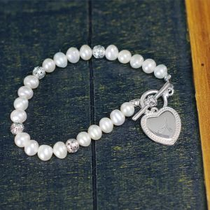 Engraved Heart Toggle Bracelet