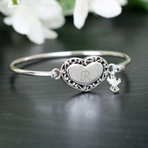 Engraved Angel Bangle Bracelet