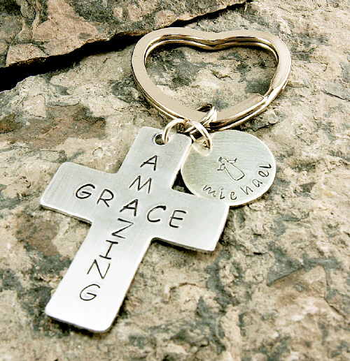 Amazing Grace Hand Stamped Key Chain | Personalized Memorial Gifts