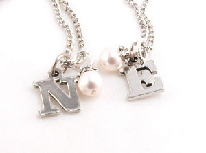 Initial and Pearl Bridal Party Necklace