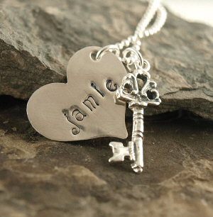 Key To My Heart Hand Stamped Necklace