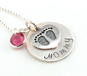 Sterling Silver Personalized Footprints Disc Necklace