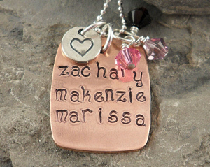 Mother's Copper Rectangle Hand Stamped Necklace