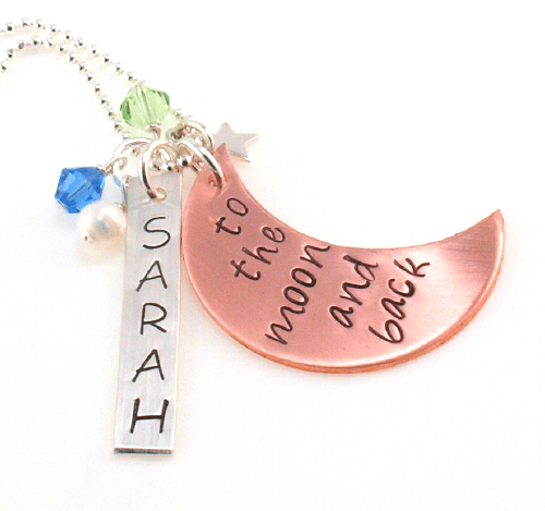 To The Moon And Back Hand Stamped Necklace | Mommy Necklace