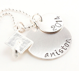 Graduation Hand Stamped Necklace