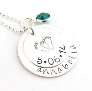 Footprints On My Heart Hand Stamped Necklace | Personalizable Jewelry