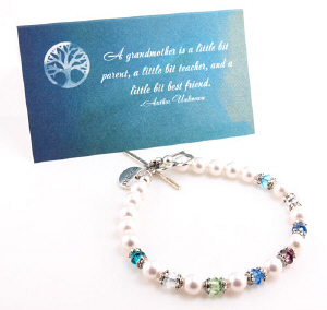 Grandma Birthstone Beaded Bracelet