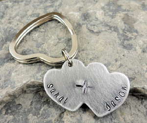 My Heartbeat Hand Stamped Key Chain