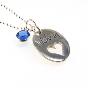 On My Heart Hand Stamped Necklace