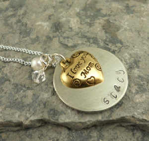 I Love You Mom Hand Stamped Necklace