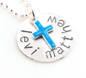 Blue Cross Hand Stamped Necklace