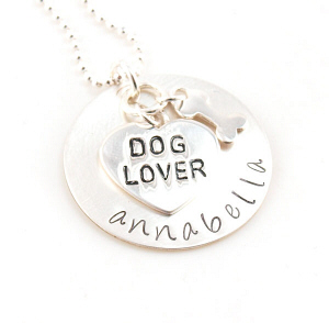Dog Lover Hand Stamped Necklace DKQC7820