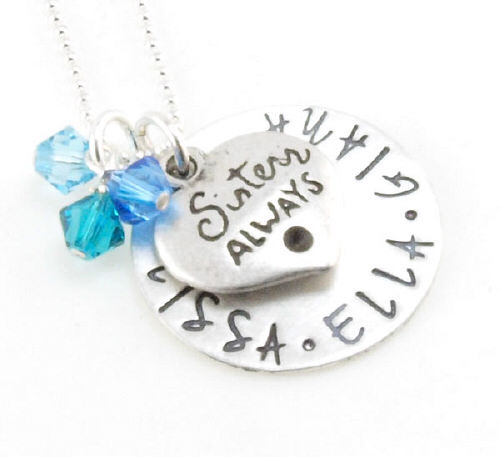 Hand Stamped Sister Necklace | Personalized Sister Gifts