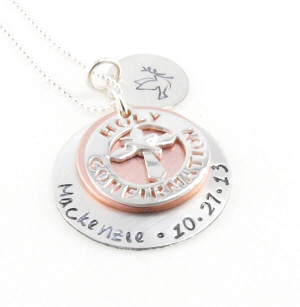 Holy Confirmation Hand Stamped Necklace