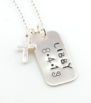 Cross Hand Stamped Necklace DKTAGCZCR