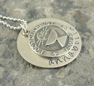First Communion Hand Stamped Necklace