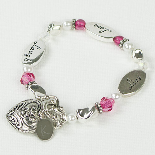 Engraved Live Love Laugh Bracelet | Personalized Jewelry