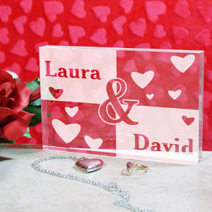 Engraved Couples Keepsake Block