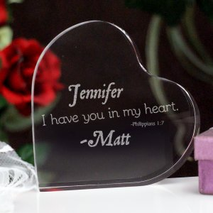 Engraved Couples Heart Keepsake