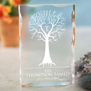 Engraved Family Tree Keepsake Block