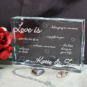 Engraved Love Is...Keepsake Block