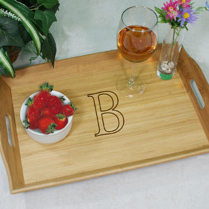 Engraved Monogrammed Bamboo Serving Tray