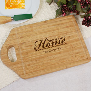 Engraved Bless Our Home Cheese Carving Board
