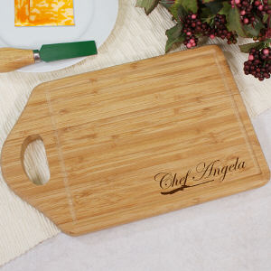 Engraved Bamboo Chef Cheese Carving Board