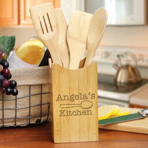 Engraved Kitchen Bamboo Kitchen Utensil Set