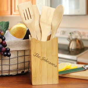 Engraved Bamboo Kitchen Utensil Set