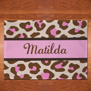 Personalized Pink Leopard Print Placemat