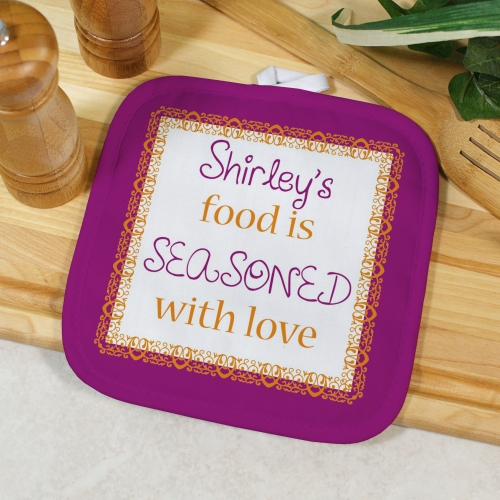 Personalized Seasoned With Love Pot Holder U617142