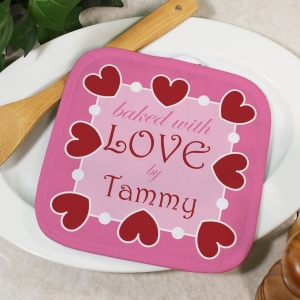 Personalized Baked With Love Pot Holder | Personalized Kitchen Gifts