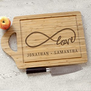 Engraved Love Infinity Paddle Cutting Board | Personalized Cutting Boards