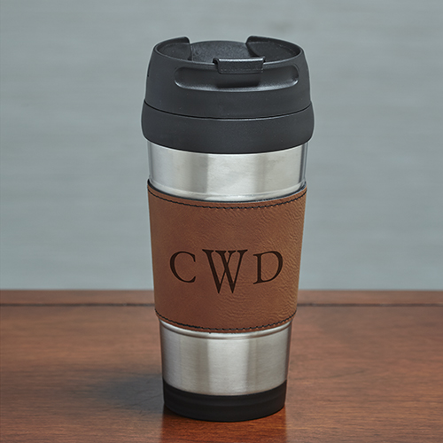 Engraved Initials Rawhide Leather Travel Mug L10041156