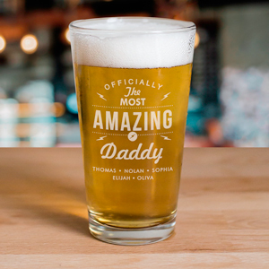 Personalized Most Amazing Daddy Glass |Personalized Beer Glass for Dad